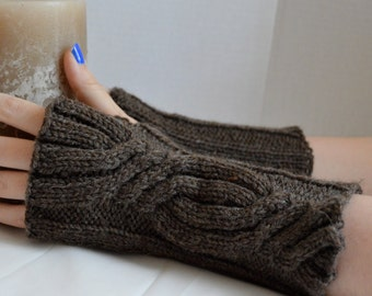 Brown Fingerless Mittens, Womens Gloves, Cabled Fingerless Gloves, Celtic Gloves, Hand Knit Teen Gloves, Hand Warmers, Cabled Mittens,