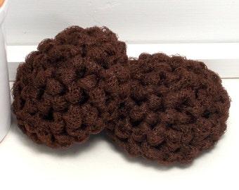 Pot Scrubbers, Crochet Scrubbies, Reusable Scrubby, Eco Friendly Kitchen Scrubber, Nylon Dish Scrubbies, Brown Pot Scrubbies, Set of 2