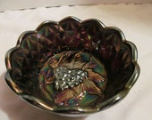 Fenton Carnival Glass Purple Iridescent Dish-Grape Cluster and Diamonds