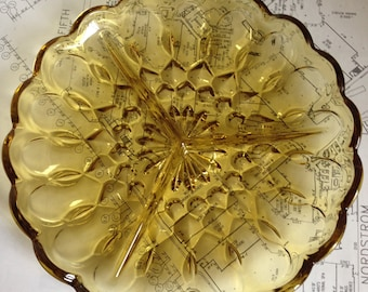 Amber Divided Relish / Tidbit Glass Tray