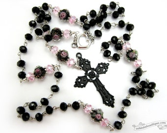 Black Crystal Rosary Necklace, confirmation rosary, catholic gift, communion rosary, confirmation gift, goth rosary, catholic jewelry, gift
