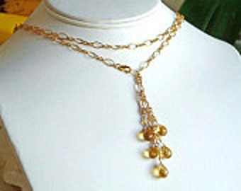 handmade 14K gold filled briolet citrines necklace