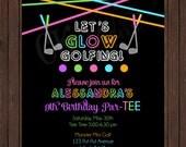Glow in the Dark Neon Miniature Golf Birthday Invite (Girl or Boy Colors)