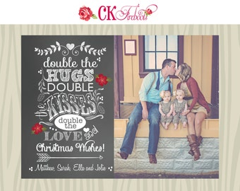 Twins Chalkboard Christmas Holiday Photo Card