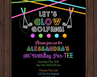 Glow in the Dark Neon Miniature Golf Birthday Invite (Girl or Boy Colors)