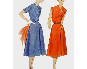 1950s Style Assymetricle Atomic Boomerang Button Flap A Line Skirt Dress Custom Made in Your Size From a Vintage Pattern