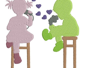 Silhouette little boy and girl vintage machine embroidery design download