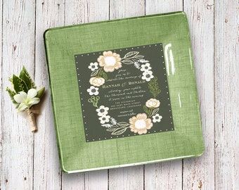 Country wedding invitation keepsake - 1st anniversary gift - unique wedding gift for couple - wedding invitation plate - wedding gift idea