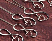 SET OF 5 Infinity Pendant w/giftbox - Heart Necklace - Bridesmaid Gift - Maid of Honor Gift - Bridal Jewelry - Bridesmaid Jewelry