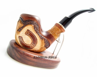 "New Set Handcrafted Tobacco Pipe ""Horseshoe Inlaid"" & Stand. Smoking Wooden Pipes. Exclusive Wood Pipes Tobacciana pipe"