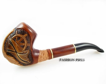 "Sale Exclusive Pipe ""PIRATE"", Tobacco Pipe - Smoking Pipe Engraved. The Best Gift Hand Carved, Limited Edition"
