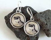 Dinosaur Earrings - T Rex - DOUBLE SIDED Tyrannosaur Dangle Earrings in Silver