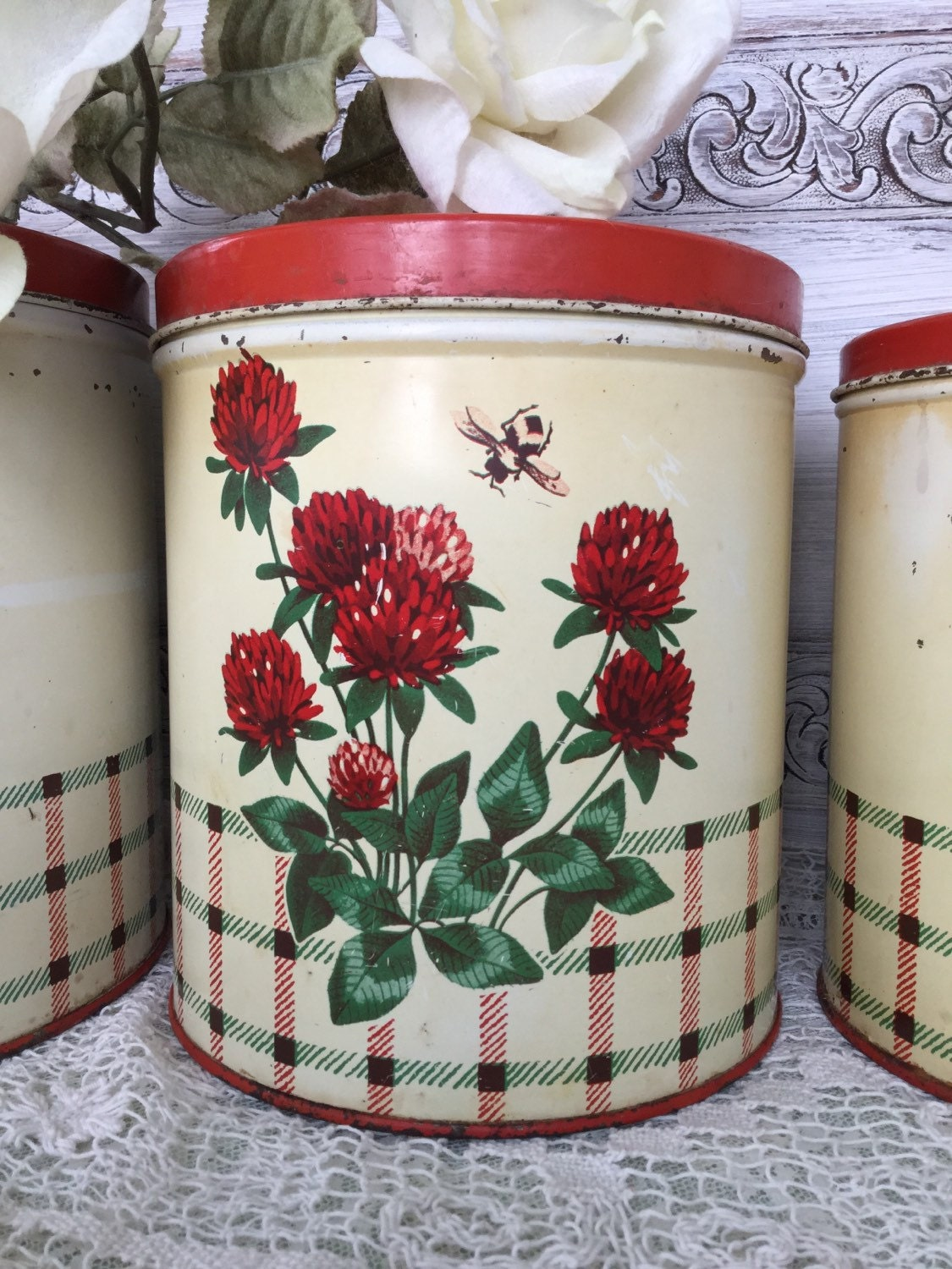 Vintage Red Clover And Honeybee Metal Canister Set Vintage