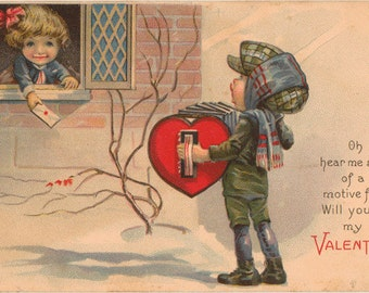 Vintage Valentine Postcard, Boy Playing Accordion, Girl in Window with Envelope