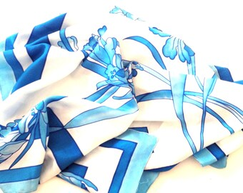 BLACK FRIDAY SALE big square silk scarf - hand painted in a beautiful art nouveau style flower decor, summer scarf, blue white flowers silk