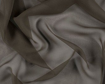 "54"" Wide 100% Silk Chiffon Olive Brown By the Yard"