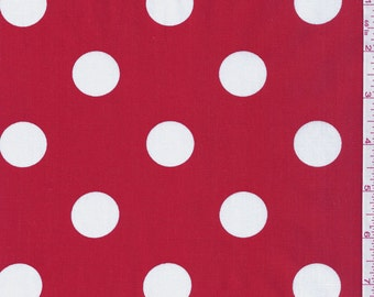 "60"" Red  and White Dot Fabric-15 Yards Wholesale By the Bolt"