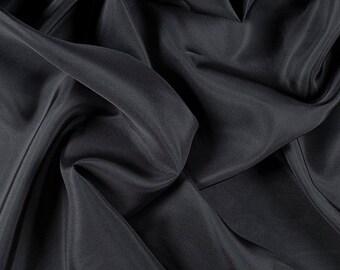 "45"" Wide 100% Silk Crepe de Chine Dark Gray by the yard"