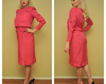 1980s Party Dress in Barbie Pink 80s Prom Formal Cocktail Knee Length Dress with Long Sleeves - Size Small Medium