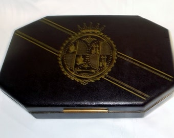 Jewelry Box Travel Case is a Flip Top Jewelry Box With Vintage Faux Leather Black Exterior Red Interior