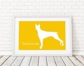 Doberman Silhouette Modern Dog Print - Custom Wall Art, Personalized Dog Print, Modern Dog Home Decor, Dog Portrait, Dog Art, Dog Lovers