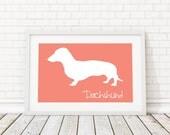 Dachshund Silhouette Modern Dog Print - Custom Wall Art, Personalized Dog Print, Modern Dog Home Decor, Dog Portrait, Dog Art, Dog Lovers