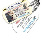 Dog Tags - California Driver's License Pet Tag - Personalized Pet Tags, Dog ID Tag, Custom Dog Tag, Dog Tags for Dogs, Dog License Tag, Cute