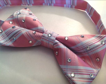 Pink Plaid Bow Tie with clear rhinestones for men or women