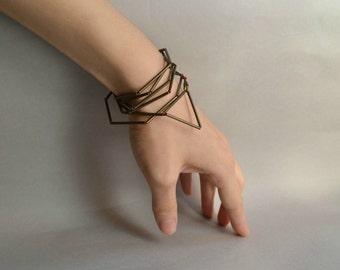 Triangle Geometric Bracelet Necklace, Minimalist Bracelet Necklace, Modern Steampunk Jewelry, Angular Faceted Bracelet, Contemporary Jewelry