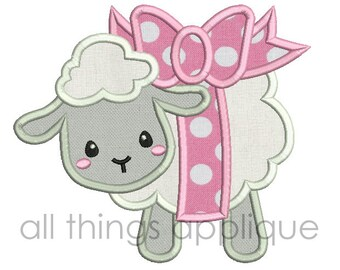Easter Applique Design - Lamb with Bow Applique Design (#626) - 4 Sizes Included - INSTANT DOWNLOAD