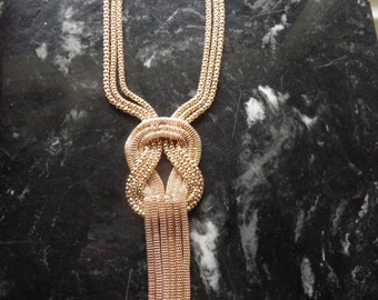 Gold Mesh Dangle Necklace,  Very Chic and Bold.