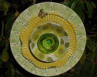 Glass Flower Garden Art Flower Ensemble with Plates, Glass, Ceramic, and other Treasures