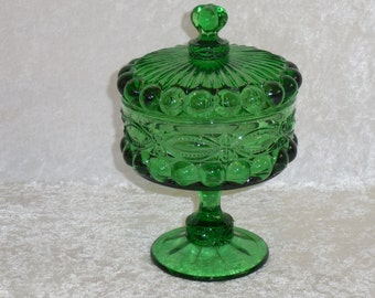 L.G.Wright Green Eye Winker Covered Candy Dish, Compote