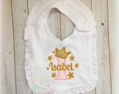 1st Birthday Gold and Pink Princess Ruffle Bib- Gold Stars-Cake Smash- Baby's First Birthday