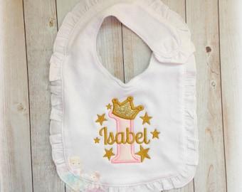 First birthday princess bib - gold stars birthday bib - 1st birthday ruffle bib - gold and pink princess - cake smash bib -  baby girl bib