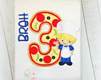 Pizza party birthday shirt - boys pizza themed shirt - pizza chef shirt - boys birthday shirt - pizza theme - custom embroidered shirt