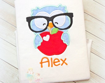 Back to school shirt - owl school shirt - owl with glasses shirt - embroidered first day of school shirt - owl with glasses and apple