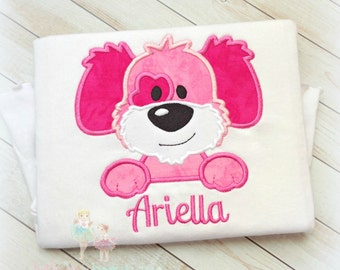 Pink Dog Shirt, Dog with patch, Custom Applique Shirt, Pawtay, Monogrammed shirt, custom embroidery