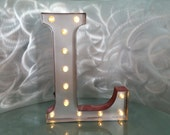 Silver L sign light up marquee initial letter vintage look