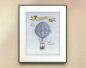 Vintage Hot Air Balloon Nursery Art // Personalized Digital Illustration // Victorian // wall art // 5x7 8x10 11x14 print