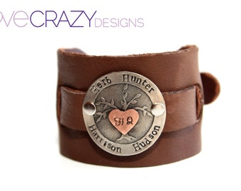 2 inch personalized buckle cuff with hand stamping and etched tree of life