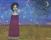 "9"" x 12"" Fine Art Print - ""Moonrise"" - Giclee, Desert Night Sky Sunset, Black Hair Brave Woman, Moon Stars, Blue Red Pink Gold, Word Art"
