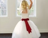 Flower girl tutu skirt flower girl tutu dress,or bridesmaid adult and child sizes in ivory or white with waistband in any colour