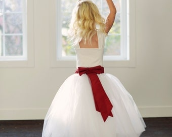Flower girl tutu skirt flower girl tutu skirt, or bridesmaid adult and child sizes in ivory or white with waistband in any colour