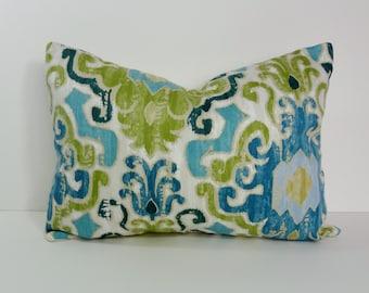 Blue and Green Decorative Pillow Cover, Ikat Lumbar Throw Pillow, Turquoise, 12 x 16, 12 x 20