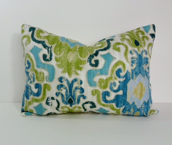 Blue and Green Decorative Pillow Cover Ikat Lumbar Throw