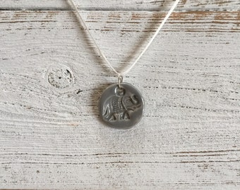 Grey Ceramic Elephant Pendant, Boho, Zen, Namaste, Never Forget, Meditation, Ceramic Jewelry