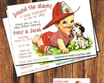 Vintage Fireman Baby Shower Invitation