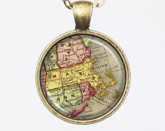 Massachusetts Map Necklace - Vintage Map of the State of Massachusetts -Vintage Map Series
