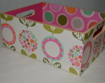 Floral and Dot Table top crate in White- Pink. Ideal for Room Decor, Bathroom storage, Office organization, Photo Box, Teacher Gift
